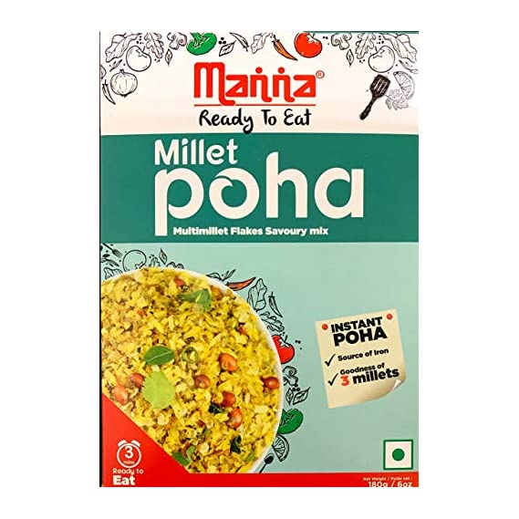 Manna Ready to Eat Breakfast Millet Poha, Pack of 2 (180g Each), No Preservatives, No Artificial Flavours & Colours, Transfat Free