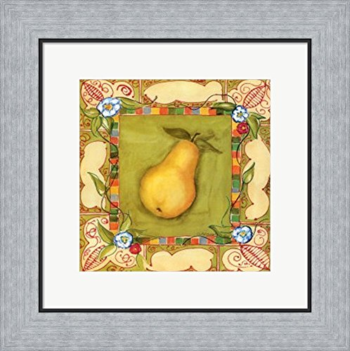 French Country Pear by Jennifer Goldberger Framed Art Print Wall Picture, Flat Silver Frame, 16 x 14 inches (Country French Pear)