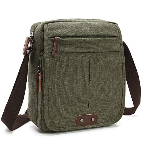 Canvas Leather Messenger Purse Shoulder Bag Lightweight Crossbody Bag Book Bag Functional Multi-pocket Vintage Casual Travel Organizer Bag Working Bag, Army Green