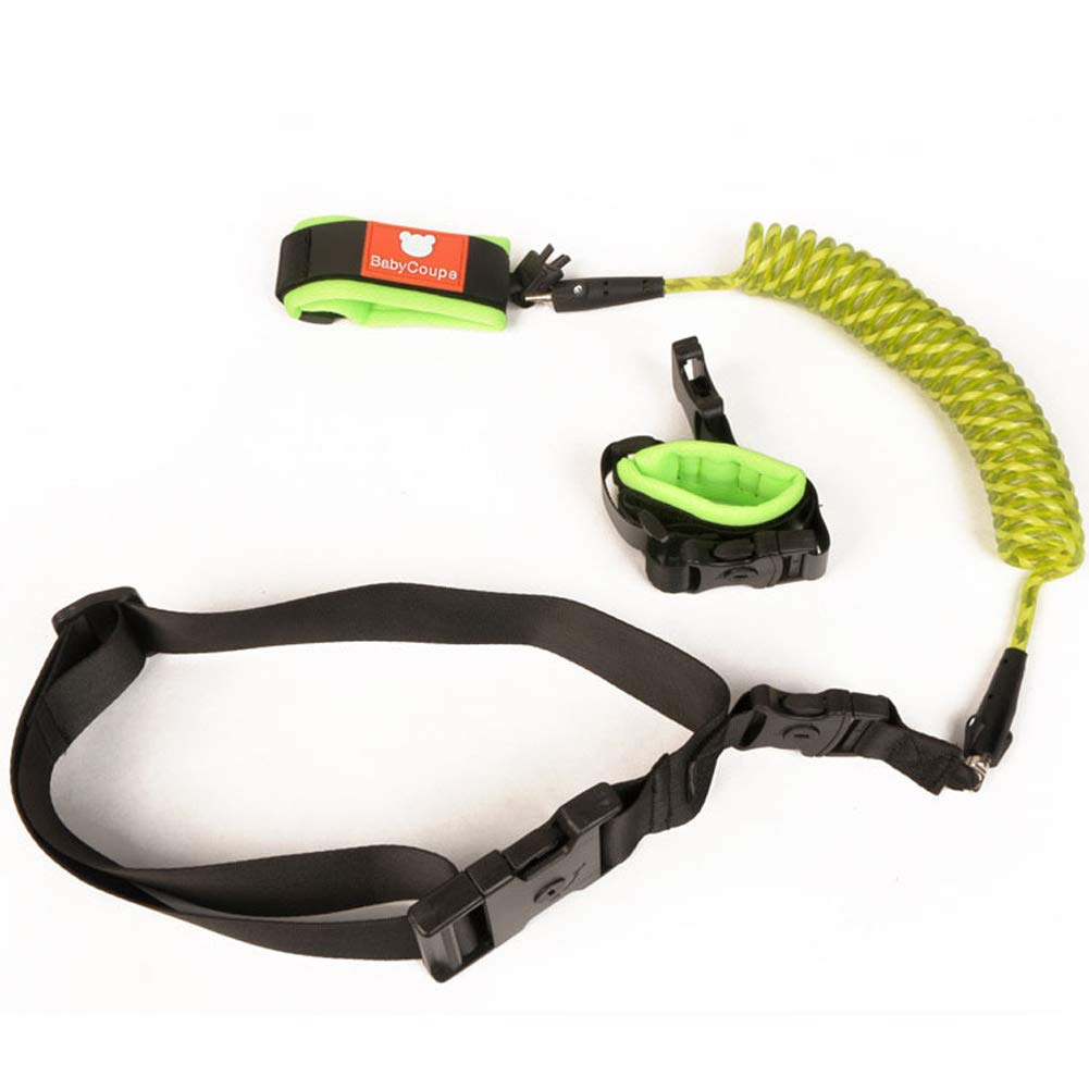 MQC Child Anti-Lost with Traction Rope Baby Travel Anti-Lost Rope Key Lock Belt,Green,1.5m