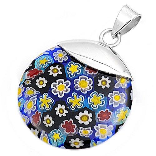 Joyara - Collier Femme Argent Fin 925/1000 Murano Verre Fleur (Vient avec une chaîne de 45 CM)