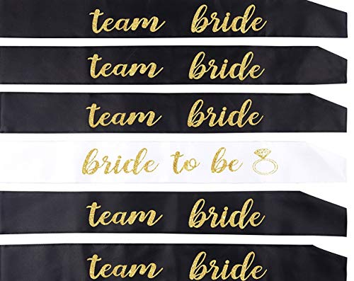 6 PACK DOUBLE LAYER BACHELORETTE SASH SET: bride to be sash/ bridesmaid sash, team bride or bride tribe sash as bridal shower decorations, bachelorette party favors or supplies and maid of honor gift. -
