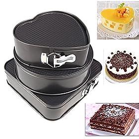 iPstyle 3pcs Nonstick Springform Pan Cheesecake Pan Leakproof Cake Pan Bakeware Loose Base Cake Baking Tin Interlocking Bakeware
