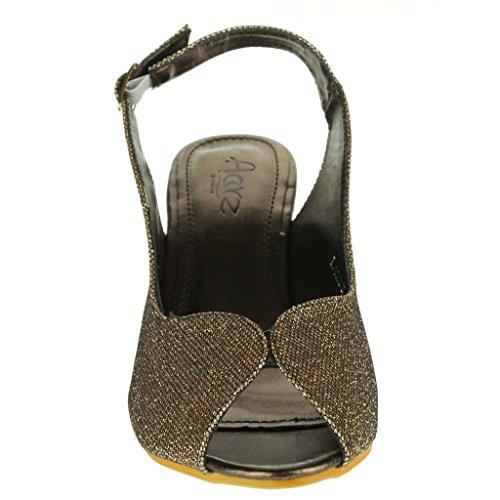Mujer Señoras Brillar Peep Toe Brillar Peep Toe Slingback Tacón de cuña Noche Fiesta Boda Paseo Sandalias Zapatos Talla Marrón