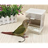 Parrot Automatic Feeder,No-Mess Bird Feeder,Cage Accessories for Budgerigar Canary Cockatiel Finch Parakeet Seed Food Container by Old Tjikko (3.9''x2.9''x5.3'')