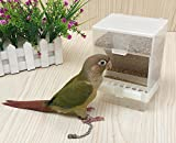 Old Tjikko Parrot Automatic Feeder,No-Mess Bird Feeder,Cage Accessories for Budgerigar Canary Cockatiel Finch Parakeet Seed Food Container (White)