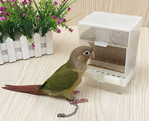(Old Tjikko Parrot Automatic Feeder,No-Mess Bird Feeder,Cage Accessories for Budgerigar Canary Cockatiel Finch Parakeet Seed Food Container (Hooked Bird Feeder))