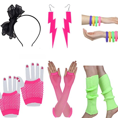 The Eighties Costumes (Women's 80s Costume Accessories Set Adult Fishnet Gloves Neon Leg Warmer Earrings Headband (Set C))