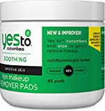 Yes To Cucumbers Eye Makeup Remover Pads, 45 Count