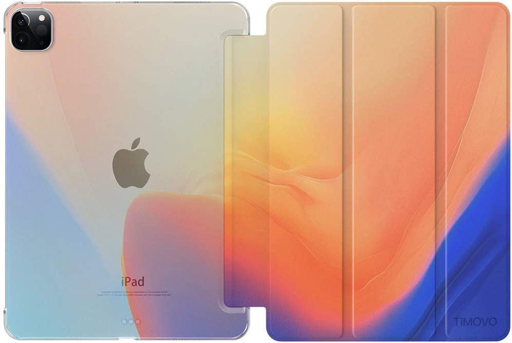 TiMOVO Case Fit New iPad Pro 11 Inch 2020 (2nd Generation), Support iPad Pencil Charging, Smart Slim Lightweight Translucent Frosted Back Protective Cover Shell, Auto Wake/Sleep, Gradient Blue/Orange