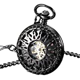 ESS Black Case Half Hunter Pocket Watch Gold Stainless Steel Case Mens Pendant