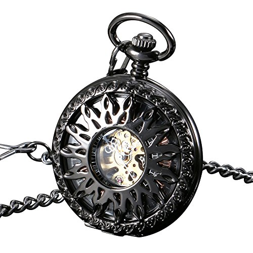 ESS Black Case Half Hunter Pocket Watch Gold Stainless Steel Case Mens Pendant by OLSUS