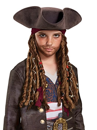 [Disney POTC5 Captain Jack Sparrow Hat, Bandana & Dreads - Child Kit,  Bandana & Dreads Child Kit,  Multicolor, One Size] (Kid's Jack Sparrow Hat)