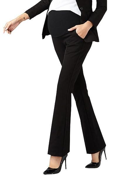 d9bea17cf35a9 Foucome Maternity Dress Pants Wide Leg Work Office Over-Bump Trousers Black  US XXS -