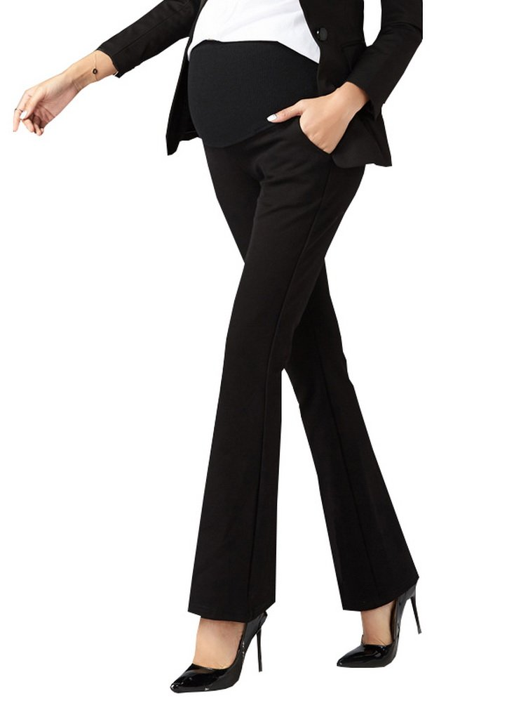 Foucome Maternity Work Pants Ove Belly High Waist Wide/Straight Leg Formal Pregnancy Trousers Black, Large
