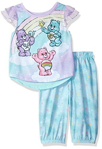 Care Bears Girls' Toddler 2 Piece Capri Pajama Set, Aqua, ()