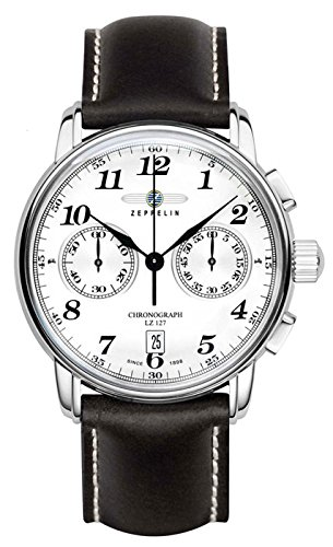 Zeppelin 7678-1 Stainless Steel Case with Black Leather Band