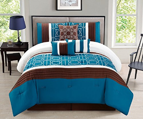 WPM 7 Pieces Complete Bedding Ensemble Brown turquoise blue white flower print Luxury Embroidery Comforter Set Bed-in-a-bag Bedding-Antonia (Queen) (Queen Ensemble Comforter)