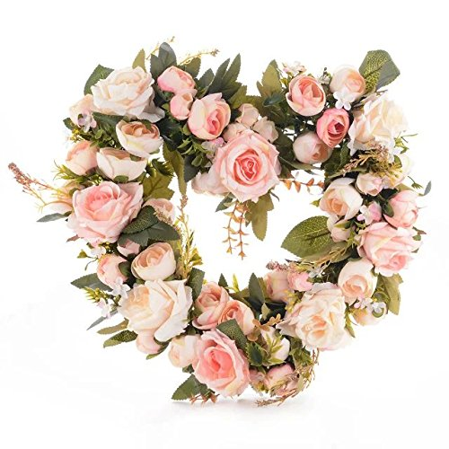 Adeeing Vintage Art Simulation Rose Flowers Wreath Pink Heart-shaped Garland for Home Wedding Decoration Heart Shaped Wreath
