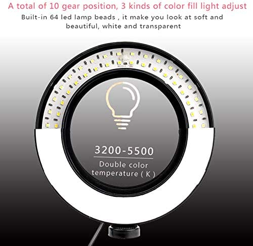 FDGBCF LED Ring Light Photo Studio Camera Light Photography Dimmable Video Light for Makeup Selfie with Tripod Phone Holder,3300K