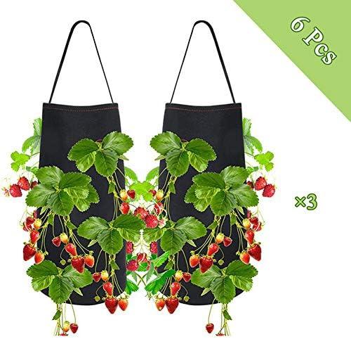 フェルト植物成長バッグ保育園吊り鉢花苗苗用イチゴトマトチリペッパー栽培家の庭、6個、38×22CM