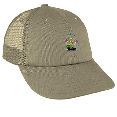 Speedy Pros Michigan State Flower Embroidery Low Crown Mesh Golf Snapback Hat Cap - Khaki