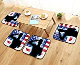 Leighhome Fillet Chair Cushion July Decor Funny French Bulldog with Sunglasses in American Costume Hiding Graphic Art Suitable for The Chair W13.5 x L13.5/4PCS Set