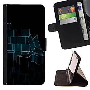 DEVIL CASE - FOR Sony Xperia Z2 D6502 - Abstract Neon Blue Bricks - Style PU Leather Case Wallet Flip Stand Flap Closure Cover