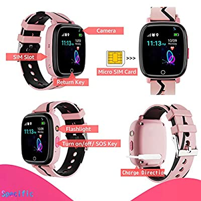 Kids Smart Watch GPS Tracker - Waterproof GPS Tracker Watch for Children Girls Boys with SOS Call Camera Touch Screen Game Alarm for Kids Boys and Girls