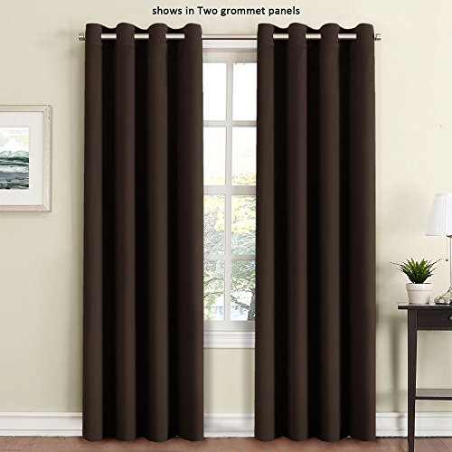 Brown Grommets (FlamingoP Room Darkening Thermal Insulated Blackout Grommet Window Curtain for Living Room, Dark Brown, 52x84-inch, 1)