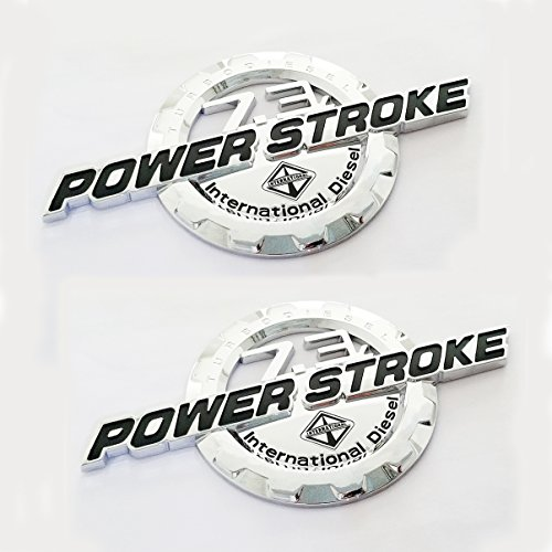 2pcs OEM Chrome 7.3L Power Stroke International Side Fender Emblems Badge Powerstroke Replacement for F250 F350