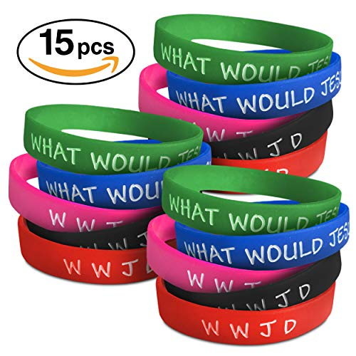 WWJD Bracelets for Men Women and Kids | Christian What Would Jesus Do Bracelet Wristbands | 5 Colors (15, 25, 50 Packs) | Religious Inspirational WWJD Church Bracelet Gifts | W W J D Bracelet