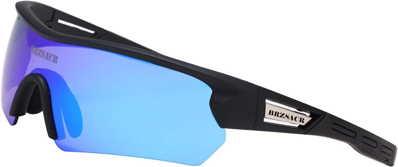 BRZSACR Gafas de Sol Deportivas polarizadas Protección UV400 Gafas de Ciclismo con 5 Lentes Intercambiables para Ciclismo, béisbol, Pesca, esquí, Funcionamiento