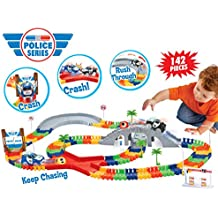 Liberty Imports |High Speed Police Chase| Create A Road Super Snap Speedway Magic Journey Flexible Track Set (142 Pcs)