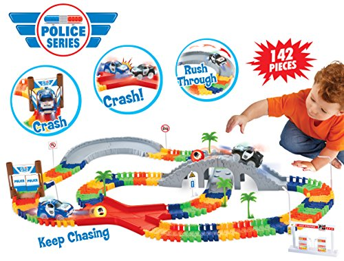 (Liberty Imports Create a Road Super Snap Speedway - Magic Journey Flexible Track Set - Ideal Gift Toy for Toddlers, Kids, Boys, and Girls (Police Chase (142 Pcs)))