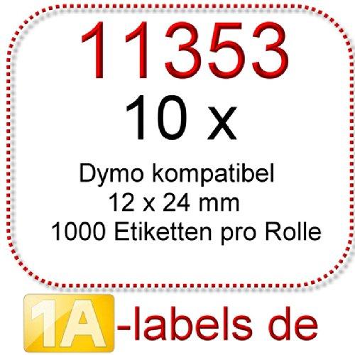 10 x 12 1 a de etiquetas 12 x x 24 mm compatible con Dymo 11353 3beeeb