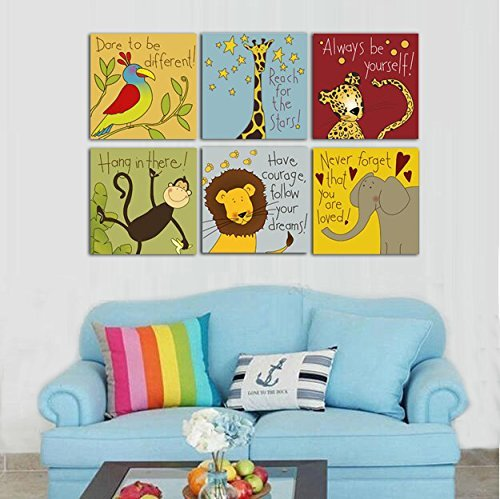 Canvas Painting 6 Pieces Modern Cartoon Animal Quotes Wall Pictures For Kids Bedroom Baby Room Wall Decor Prints Art No Frame (16x16inchx6pcs, No Frame)