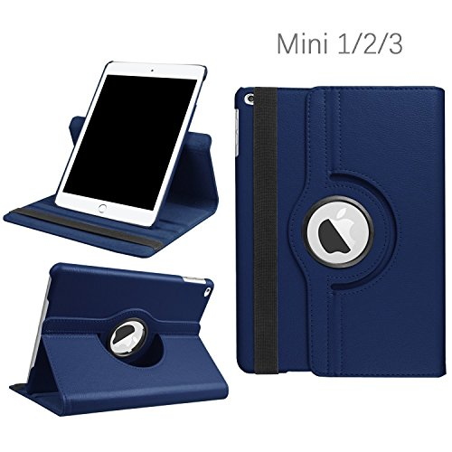 iPad Mini 1/2/3 Case - 360 Degree Rotating Stand Smart Cover Case with Auto Sleep/Wake Feature for Apple iPad Mini 1 / iPad Mini 2 / iPad Mini 3 (Navy) ... ... (Ipad Mini 3 Stand Cover)