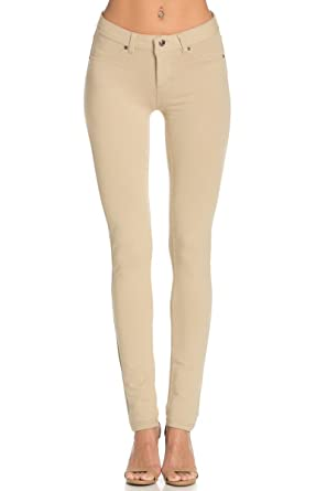 bfcfed11f7cee Poplooks Women s Casual Mid Rise Stretch Skinny Knit Jegging Pants Khaki  Small