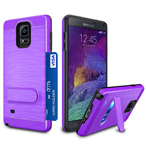 Galaxy Note 4 Case, Zectoo Galaxy Note 4 Wallet case Heavy Duty [Card Pocket] Anti Scratch Dual Layer Kickstand Shockproof Bumper Protective Hybrid Card Case Cover for Samsung Galaxy Note 4 - Purple