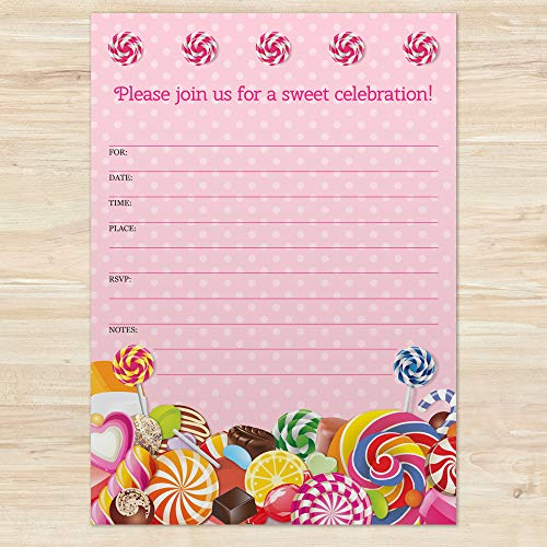 Sweet Pink Polka Dot Candy Birthday Invitations, Set of 10 Fill-in Blank 5x7 in Invite and Envelope