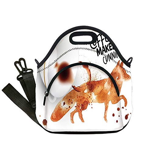 Insulated Lunch Bag,Neoprene Lunch Tote Bags,Coffee Art,Cunning Animal and Human Nature Character Theme Coffee Espresso Decorative,Burnt Sienna Black White,for Adults and children (Sienna Soup)