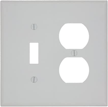 Leviton 80505 W 2 Gang 1 Toggle 1 Duplex Device Combination Wallplate Midway Size White Switch And Outlet Plates