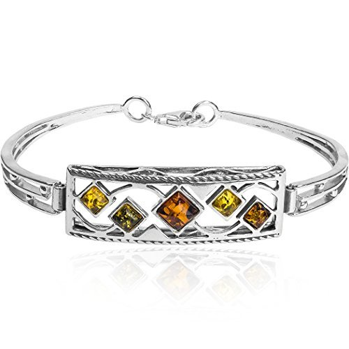 Noda bracelet jonc carré en argent 925 et ambres multicolores 18cm