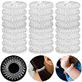 YESHM 24Pcs Rubber Hair Tie, Transparent Traceless Hair Ring, Waterproof Phone Cord Hair Band Prevents Hair Breakage, Crystal Clear Hair Coil Elastics in Spiral Shape