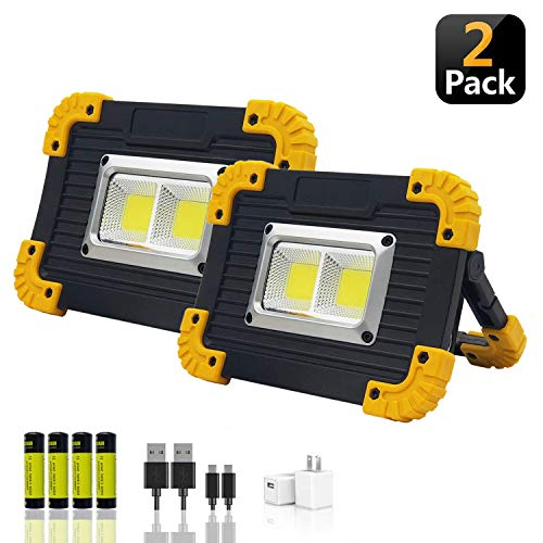 LED Portable Work Lights, XQOOL Super Bright Rechargeable COB Flood Lights Waterproof Work Light with Stand Built-in Power Bank Job Site Light Indoor Outdoor Multi-Purpose Lights (L812Y-2PACK)