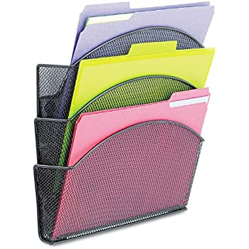Safco Products 4175BL Onyx Mesh Magnetic Triple File Pocket, Letter Size, Black