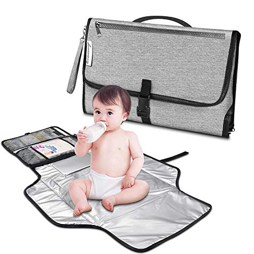 Bermuanvy Baby Changing Pad,Diaper Changing Pad Built-in Head Cushion & Wipes Pocket Waterproof Foldable Diaper Clutch Baby Travel Changing Station Kit for Toddlers Infants and Newborns