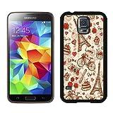 France Paris Love City Eiffel Tower Floral Pattern Black Samsung Galaxy S5 I9600 Shell Phone Case,Nice Look