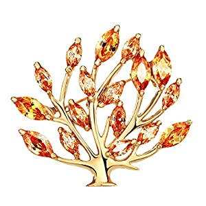 NEOGLORY Jewelry Gold Plated Cubic Zirconia Tree of Life Brooch Pin Gift Boxed 5 Colors